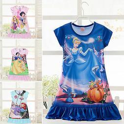 Kid Girl Summer Nightwear Princess Cartoon Dress Nightgown S