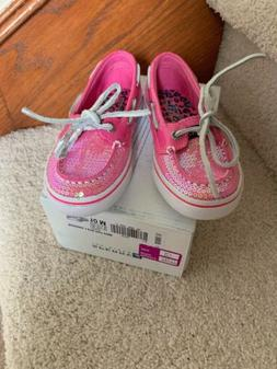 Sperry Top-Sider Girls Pink Bahama Sequin Boat Shoes Sneaker