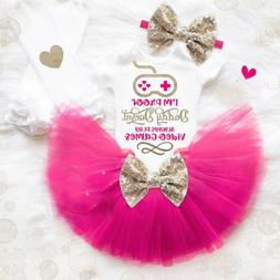 US 3PCS Newborn Baby Girl Clothes Romper Jumpsuit+Tutu Skirt
