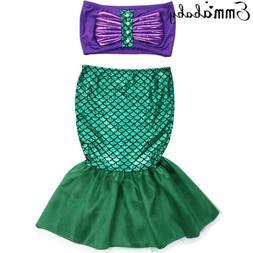 US Kids Ariel Little Mermaid Set Girl Princess Dress Party C