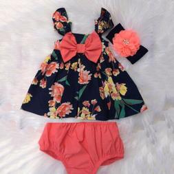 US Newborn Baby Girl Summer Clothes Flower Tops Dress Short