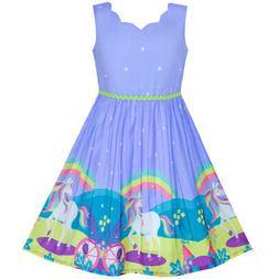 US STOCK! Flower Girl Dress Unicorn Rainbow Holiday Princess