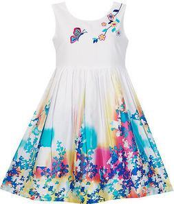 US STOCK Girls Dress Butterfly Seeking Flower Embroidery Chi