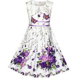 US STOCK! Girls Dress Purple Butterfly Flower Sundress Party