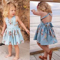 US Summer Toddler Kids Baby Girl Dress Floral Sleeveless Par