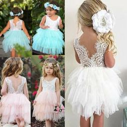 US Toddler Kid Baby Girl Lace Tulle Party Pageant Bridesmaid