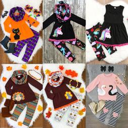 USA Unicorn Kids Baby Girl Outfits Clothes T-shirt Tops Dres