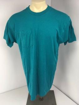 Vtg Fruit of the Loom Jade Green 50/50 Pocket Tee T Shirt L