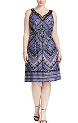 NY Collection Womens Plus Beaded Embellished Dress Blue Blac