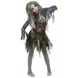 Zombie Girl Costume Kids Scary Halloween Fancy Dress